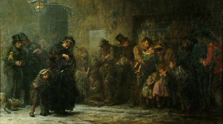 Applicants for Admission to a Casual Ward, 1874. When this painting was first exhibited at the Royal Academy in 1874, it was accompanied with a quotation from a letter by Dickens. He described a scene that he had witnessed in 1855 outside the entrance of Whitechapel Workhouse.