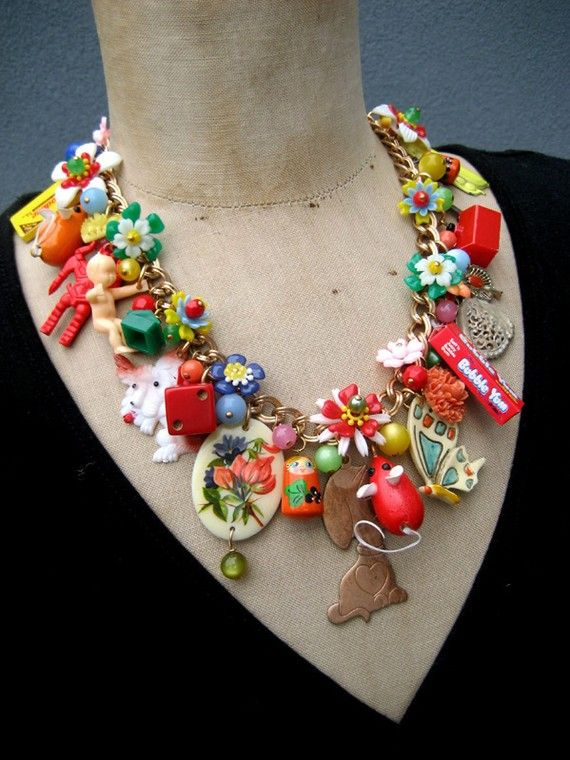 The Toy Parade - A Vintage Toy and Flower Necklace . By Rebecca3030 on Etsy