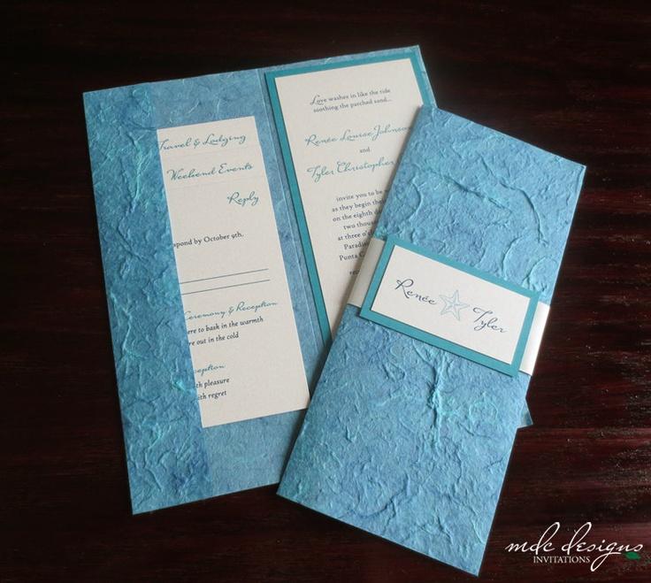 Starfish   Eco Friendly Mulberry Pocketfold Destination Wedding Invitation