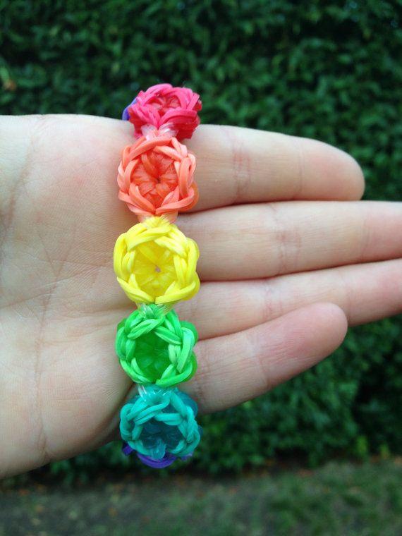 Flower Burst Rainbow Loom Bracelet by LoominItUp on Etsy