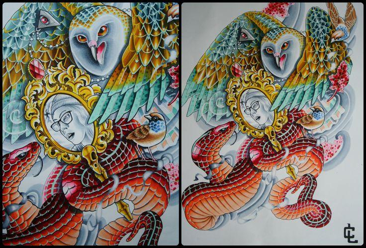 owl vs snake- curtis lawson art