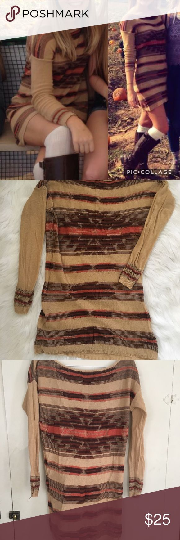 Autumn Sweater Dress🍂 This sweater dress is perfect for fall! All fall colors like browns, burnt orange, and tan. I bought it from a local boutique. Super comfy and cute. Size small. Dresses Long Sleeve