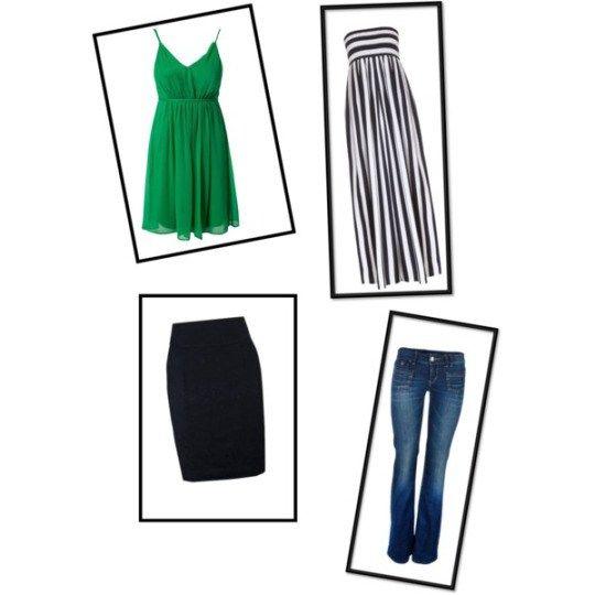 Falda lápiz, pantalón de pierna recta, vestido corte imperio y vestido maxidress. Para parecer más alta
