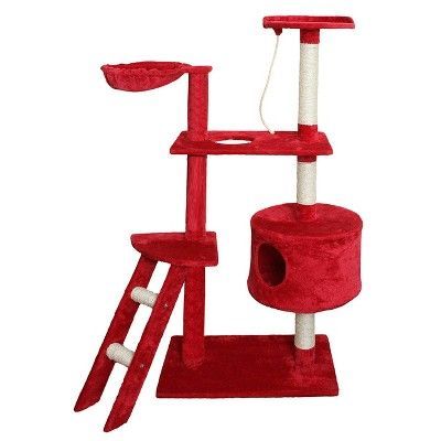 Oxgord Paws & Pals Cat Scratch Tree Condo Furniture 58 - Red and White