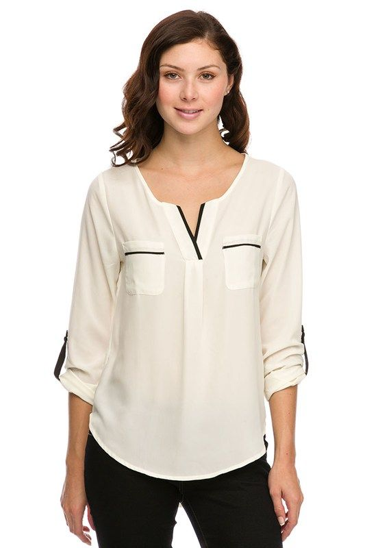 Ivory Blouse with Black Accents