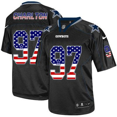 Nike Cowboys #97 Taco Charlton Black Men's Stitched NFL Elite USA Flag Fashion Jersey