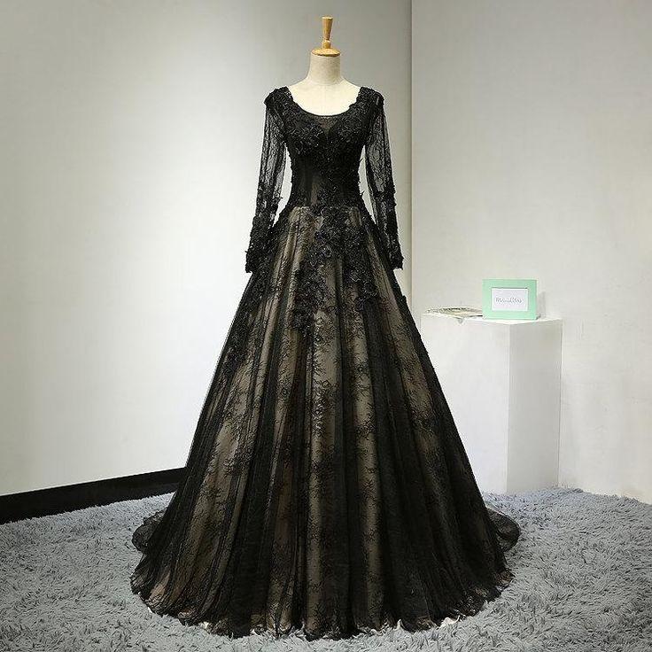 Black wedding dresses 2020 long sleeve lace applique