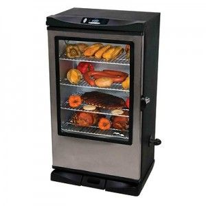 Masterbuilt's new electric smoker is the Masterbuilt Electric Smoker 40 inch with window. This cabinet-style smoker is very popular among BBQ enthusiasts. For those who love gadgets, you will be happy to find out that the Masterbuilt Electric Smoker 40 inch even comes with a remote control. The remote control allows you to control the temperature setting as well as display the temperature inside the oven and also the meat probe thermometer.