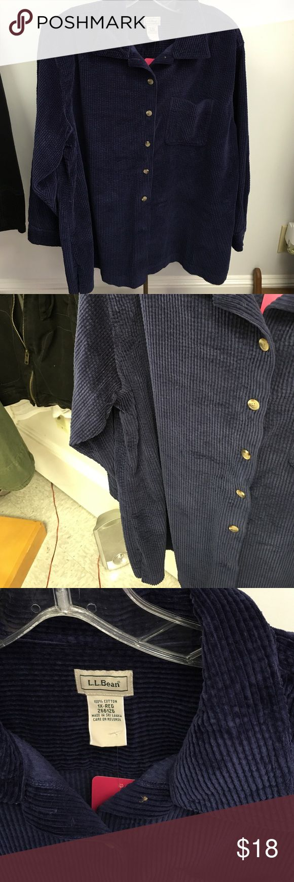 LLBean corduroy collared shirt Sz 1x This comfy shirt is perfect for your fall walks ladies! Corduroy and navy blue. Made by LLBean in a size 1X. LL bean Tops Button Down Shirts