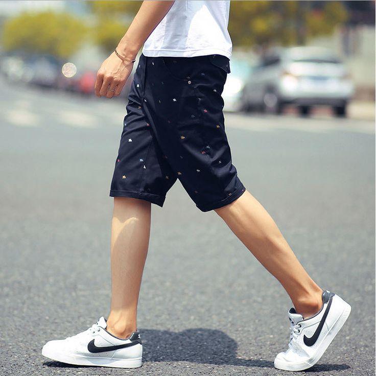 mens shorts print casual Men's shorts fashion cotton shorts homme sport khaki white green