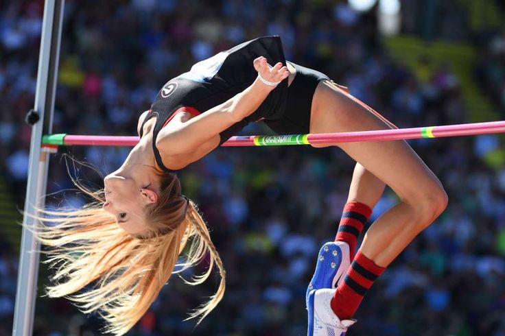 Madeline Fagan competes during the women's high jump qualifying in the 2016 U.S. Olympic track and field team trials in Eugene, Oregon..