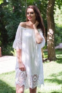 Белый сарафан с ажурной вышивкой и ришелье New Beauty (S,M,L,XL)
