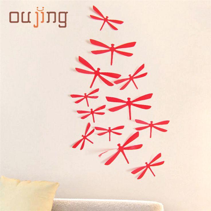 Indah Hewan Peliharaan Pabrik Harga 12 pcs mode kreatif 3D DIY Dekorasi Dragonfly Partai PVC Art Decal Stiker Dinding Rumah atau poster Aug16
