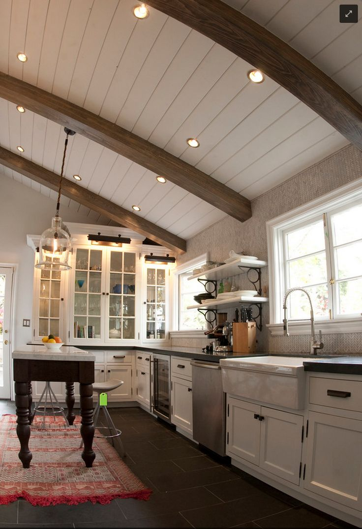 Off white apron sink - Farmhouse Sink Marble Topped Farmhouse Table Bistro Shelves And What Looks Like A