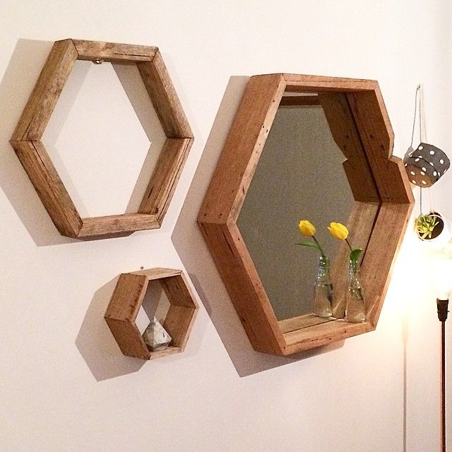 WOOD   DEN ✖️ HEX LOVE👌💕OUR LARGE RECYCLED TIMBER MIRROR + HEXAGON WALL ART + MINI HEX SHELF✖️ W www.wooddenhome.com  E den.enquiries@gmail.com  Etsy WOODDENHOME