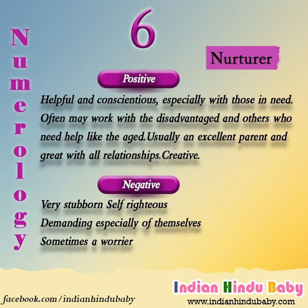 Let's find out the baby names with the number 6 - https://www.indianhindubaby.com/numerology-number-6