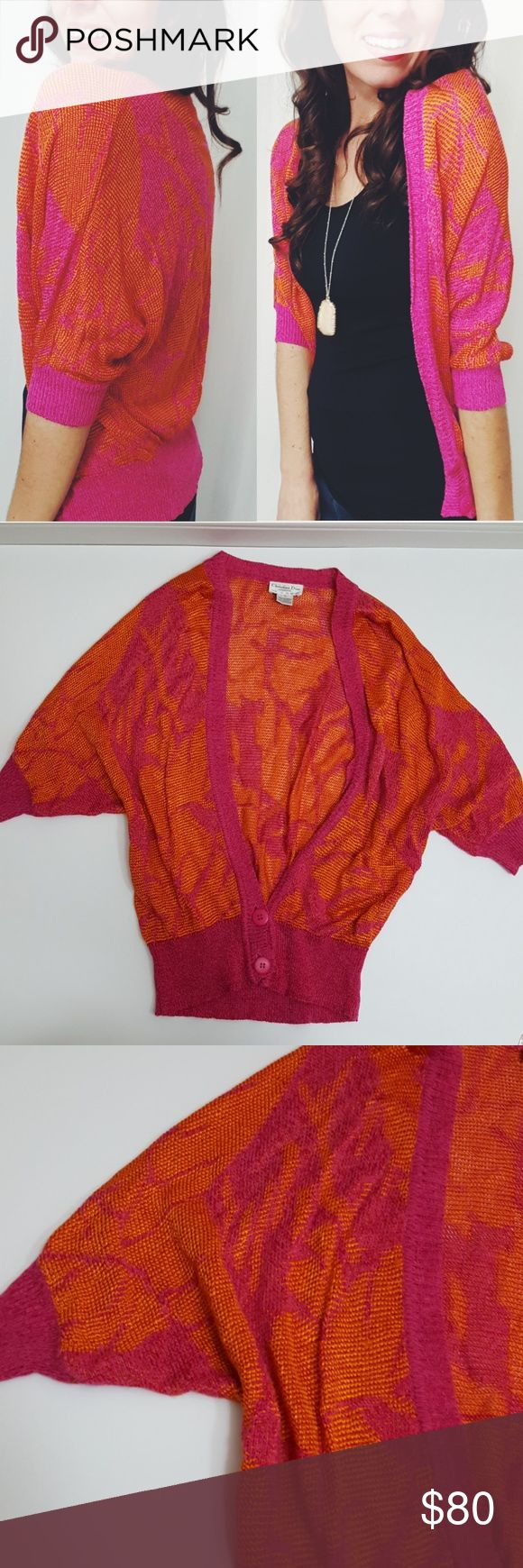 Christian Dior pink & orange cardigan -C7 In good condition! Vintage Christian Dior cardigan size large. Loose fit, stretch material. Orange and pink. Used item: lovingly inspected for wear. Pictures show any signs of wear. Bundle up! Offers always welcome:) Christian Dior Sweaters Cardigans