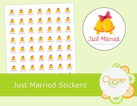 Just Married Stickers   Wedding Treat Bag by OrangeKiwiDesign