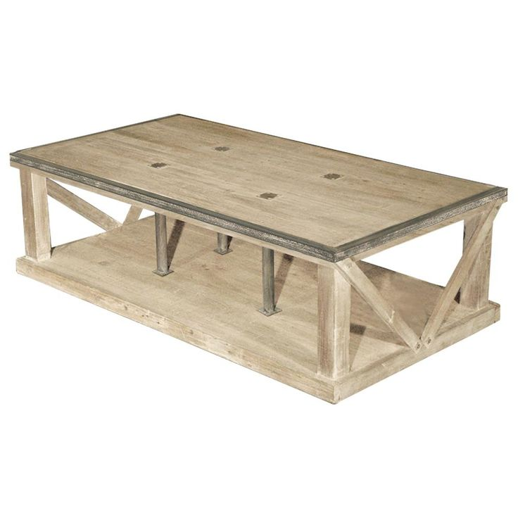 Forte French Country White Wash Reclaimed Pine Iron Coffee Table