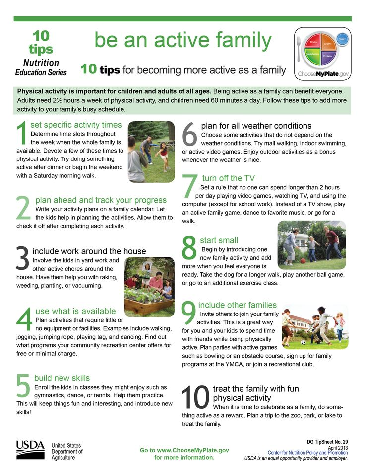 "10 Tips ""Be an Active Family "" myplate exercise"