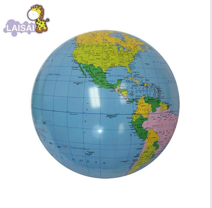 Sale !! Inflatable World Globe Teach Education Geography Toy Map Balloon Beach Ball montessori educational toy color box