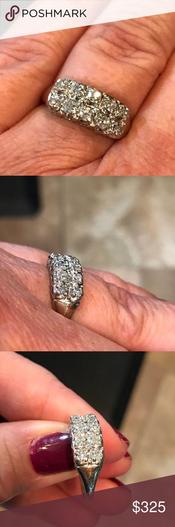 14 karat white gold antique diamond ring Beautiful and sparkly vintage diamond ring. 1/3 karat genuine diamonds. Stamped 14 K.  Size 5.75 Jewelry Rings