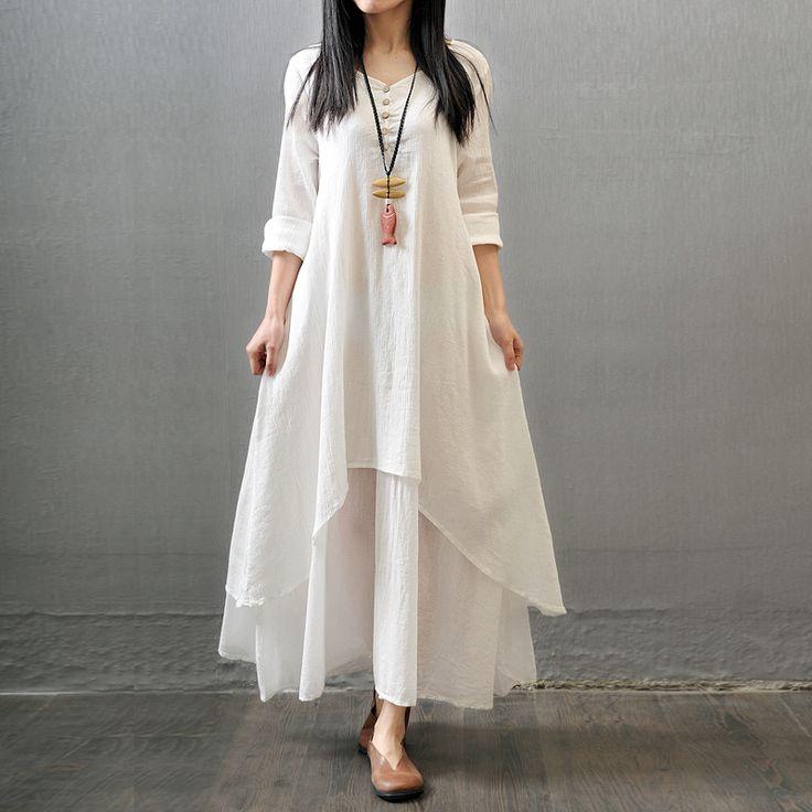 2016 hot fashion women's clothing autumn full dress expansion bottom linen one-piece dress loose V-neck cotton dress
