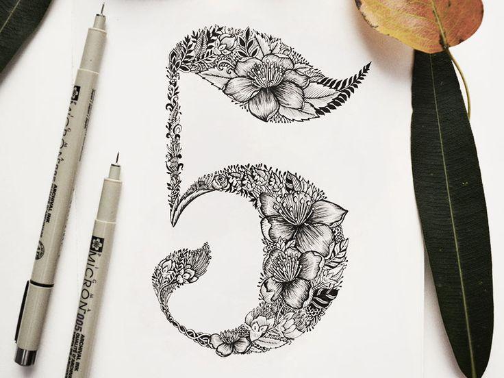 Botanical Hand-Lettering number ''5''