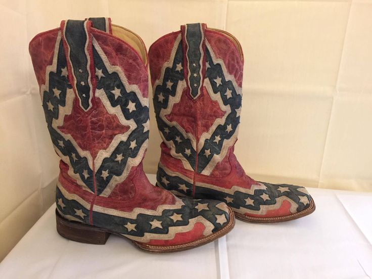 Corral Vintage American Red White And Blue Western Cowboy Boots - Size 9 1/2D #Corral #WesternBoots