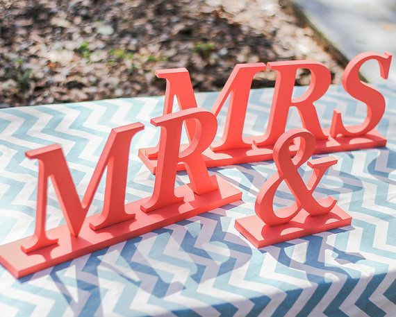 Coral Mr and Mrs Wedding Signs for Sweetheart by ZCreateDesign, $35.00