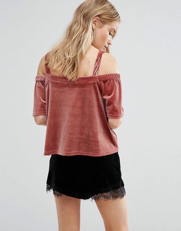 New Look Velvet Bardot Top - Red