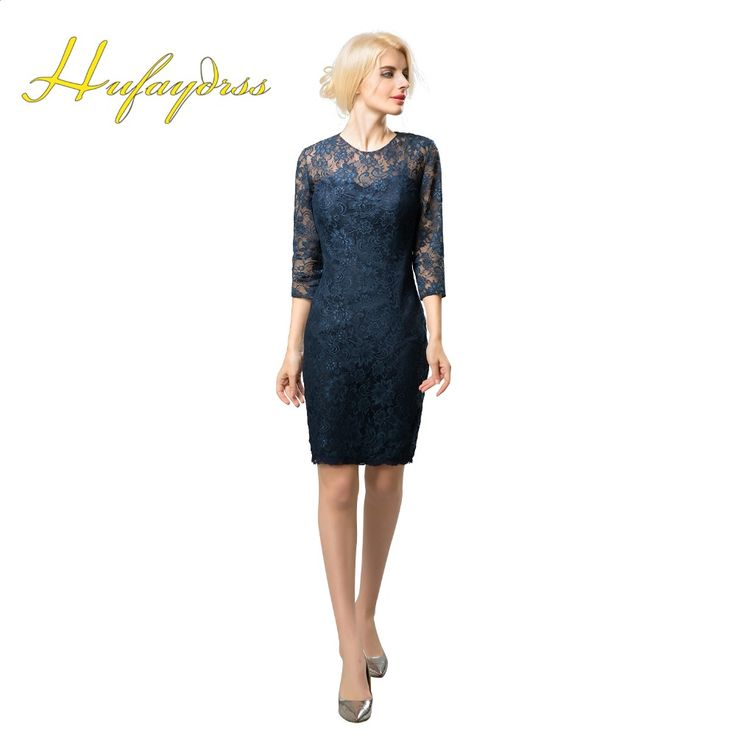 Navy Blue Mother Of The Bride Lace Dresses Short 2017 3/4 Sleeves Knee Length Chinese Style Qipao Godmother Dress Plus Size 1221