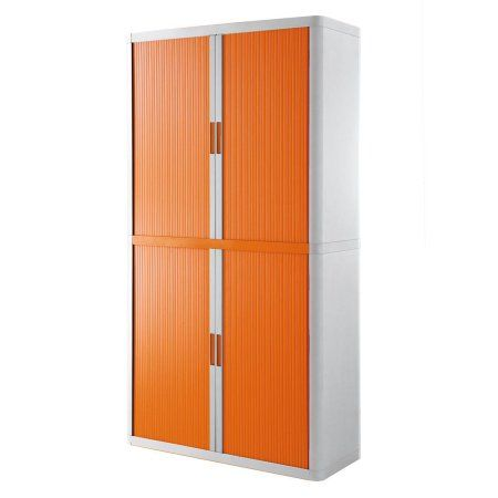 Paperflow easyOffice Storage Cabinet, 80 inch Tall with Four Shelves, White and Orange