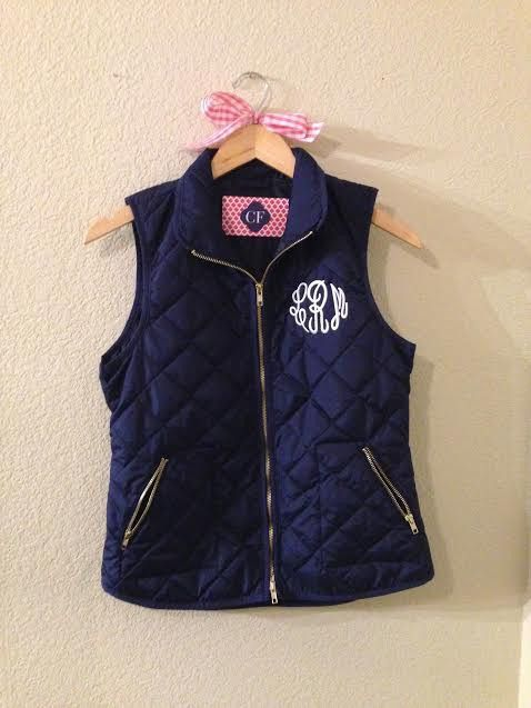 Awesome gift idea!!! Navy Quilted Monogram Vest | Crystal Faye