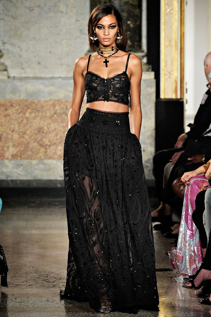 emilio pucci black sheer/lace bohemian gypsy inspired crop top & bi-layer long skirt ~ spring 2012 rtw collection.