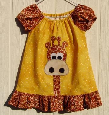 Giraffe Applique Peasant Dress, Size 2T by ArtsyCrafty for $28.00