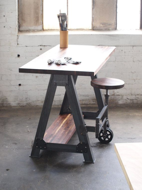 Walnut Stand Up Sit Down Work Station Desk and by CamposIronWorks. Stool swings out from under desk