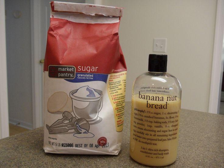 DIY body scrub... sugar and your favorite body wash!
