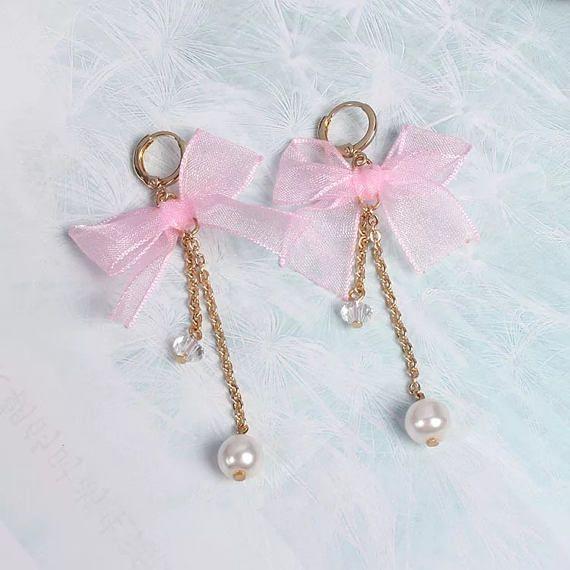 Ribbon Earrings Bow Earrings Dangle Pearl Earrings Bow
