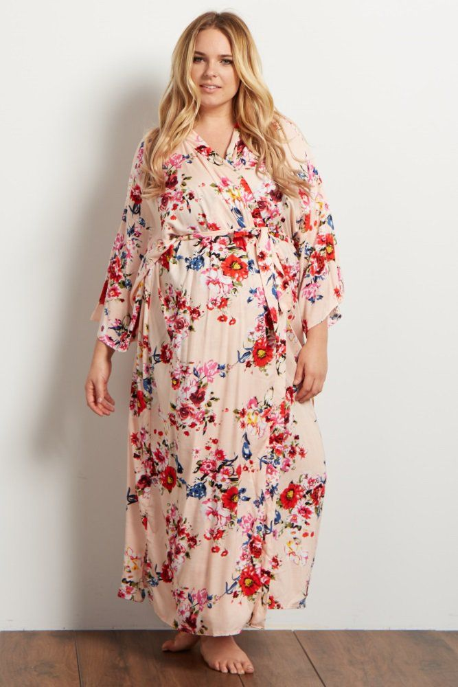 8dbf1a250a4 Light Pink Floral Plus Long Dressing Robe A floral printed hospital long  plus maternity robe. Open front with tie closure.