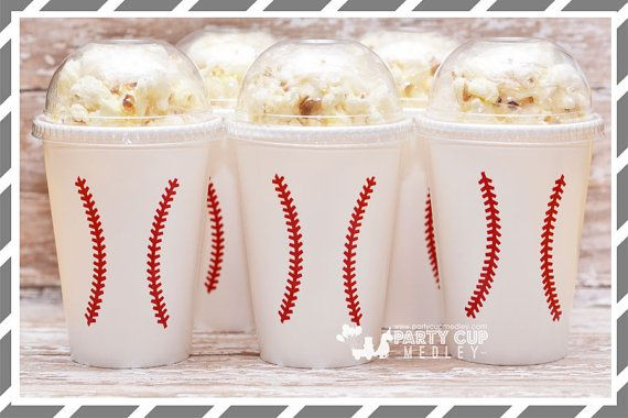 Baseball Birthday Party-PopcornCups-Set of 10 by PartyCupMedley