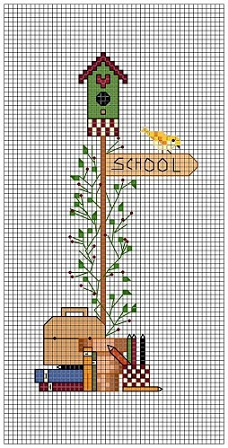 Cross-stitch BIRDHOUSE bookmark... No color chart, so use colors on pattern chart for your guide