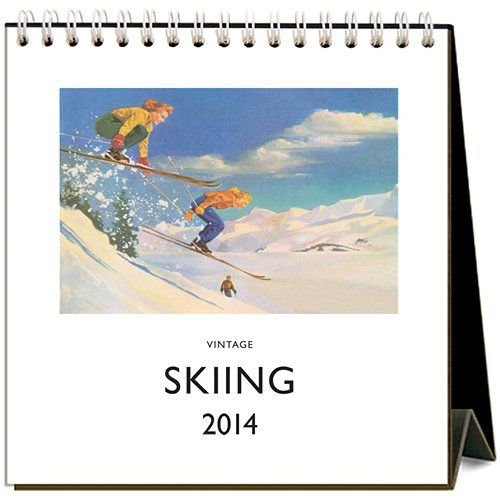 Vintage Skiing 2014 Easel Desk Calendar: 809742029108 | Winter Sports | Calendars.com