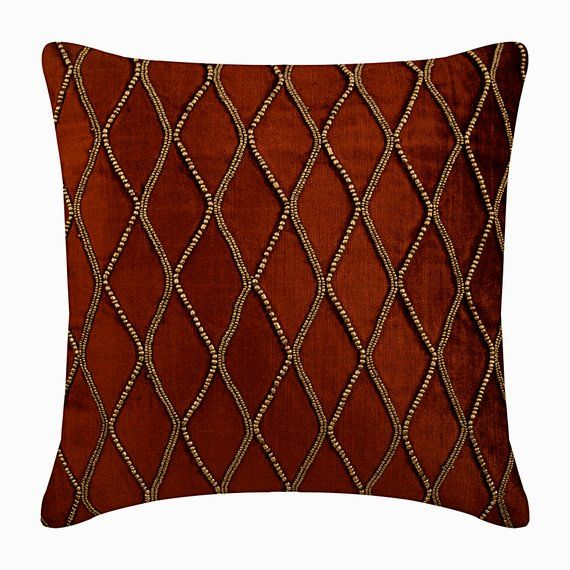 16x16 Designer Rust Orange Throw Pillow