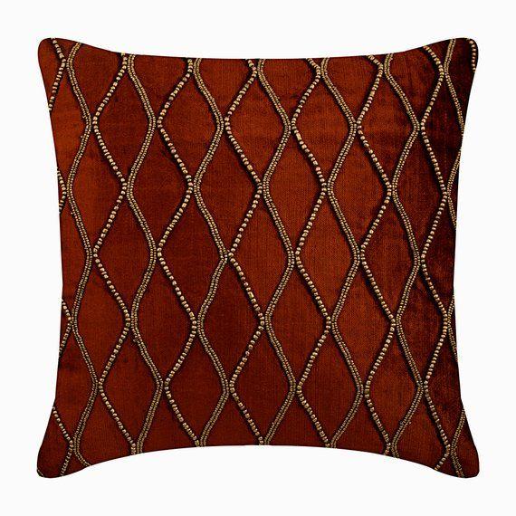 16x16 Designer Rust Orange Throw Pillow Velvet Etsy Orange