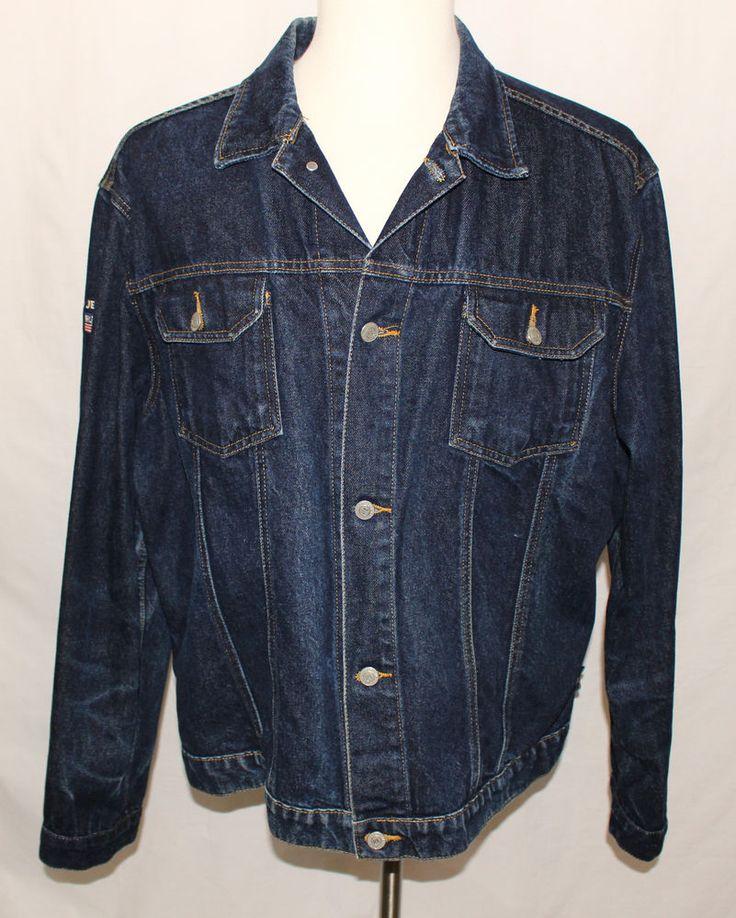 VTG POLO JEANS Co. Ralph Lauren Dark Wash Trucker Denim Jacket Hipster Men's 2XL #PoloJeansCo #JeanJacket
