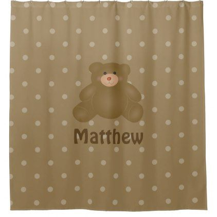 #Cute Cuddly Brown Baby Teddy Bear And Polka Dots Shower Curtain - #Bathroom #Accessories #home #living