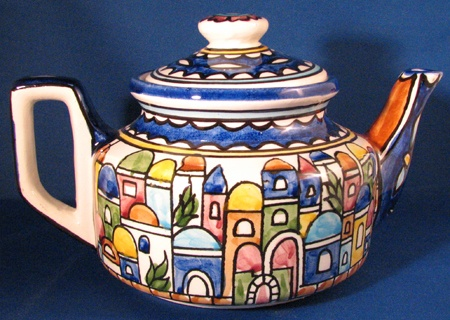 Fakhoury Pottery of Jerusalem Teapot COLOR: VILLAGE