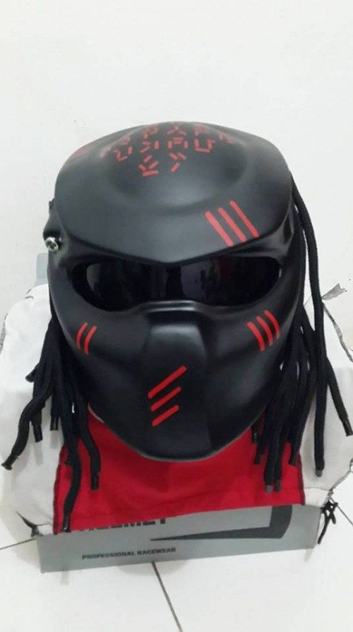 Alien Predator Helmet for street fighter Style Black With Red by PREDATORHELMET15 on Etsy
