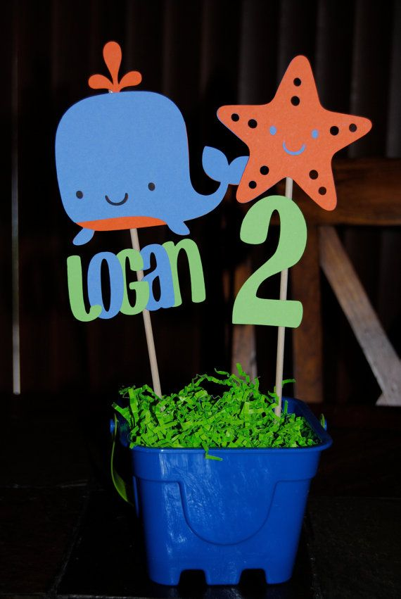 Under the Sea Whale Starfish Birthday Party centerpiece... Something like this with a picture of Faol, the number 5 and a shark.